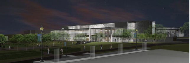 A night view rendering of the new Learning Commons, which will house the Communication Arts facilities, is set to open in Fall 2015.