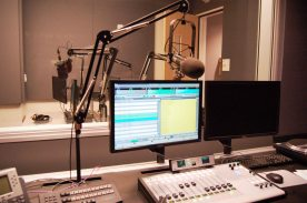 Equipment in the new Learning Commons radio studio.