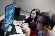 Students in editing booth
