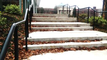 The steps to the Learning Commons