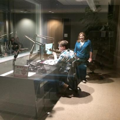 Pat and Amanda DJing in the new Learning Commons radio studio.