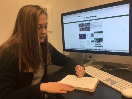 Rachel Looker ('17) working in The Wood Word office.