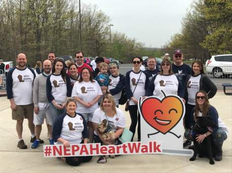 Sara and some of her co-workers at the Northeast Pennsylvania Heart Walk in April 2017