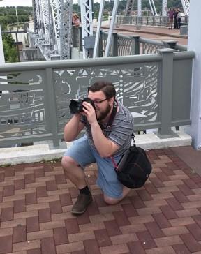 Shooting a portrait on the Pedestrian Bridge in Nashville, Tennessee
